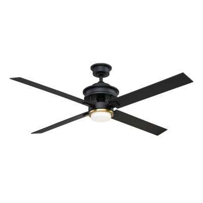 Lincolnshire 60 in. LED Matte Black Ceiling Fan with Light and Remote Control works with Google and Alexa