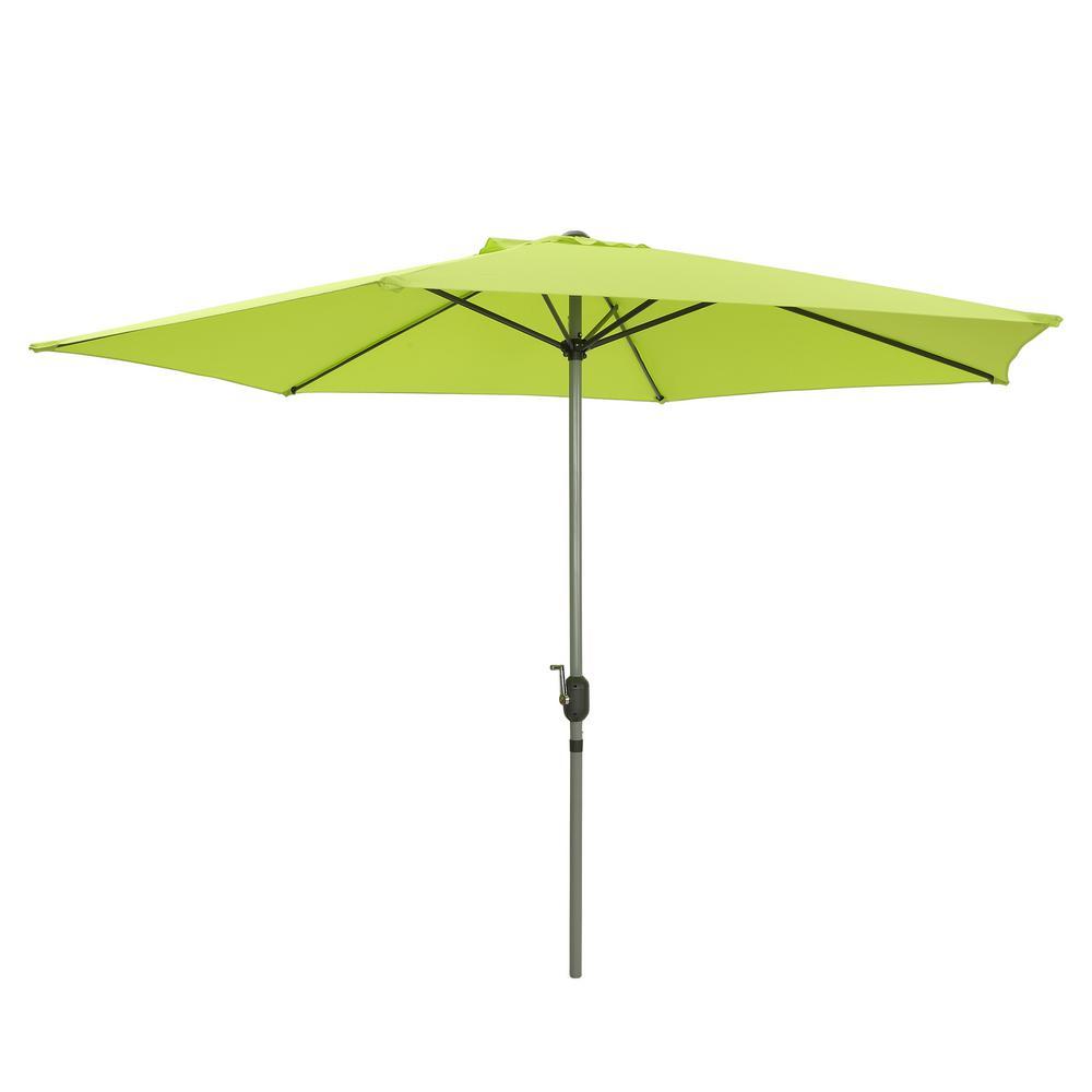 9 ft. Aluminum Pole Market Outdoor Patio Umbrella in Green