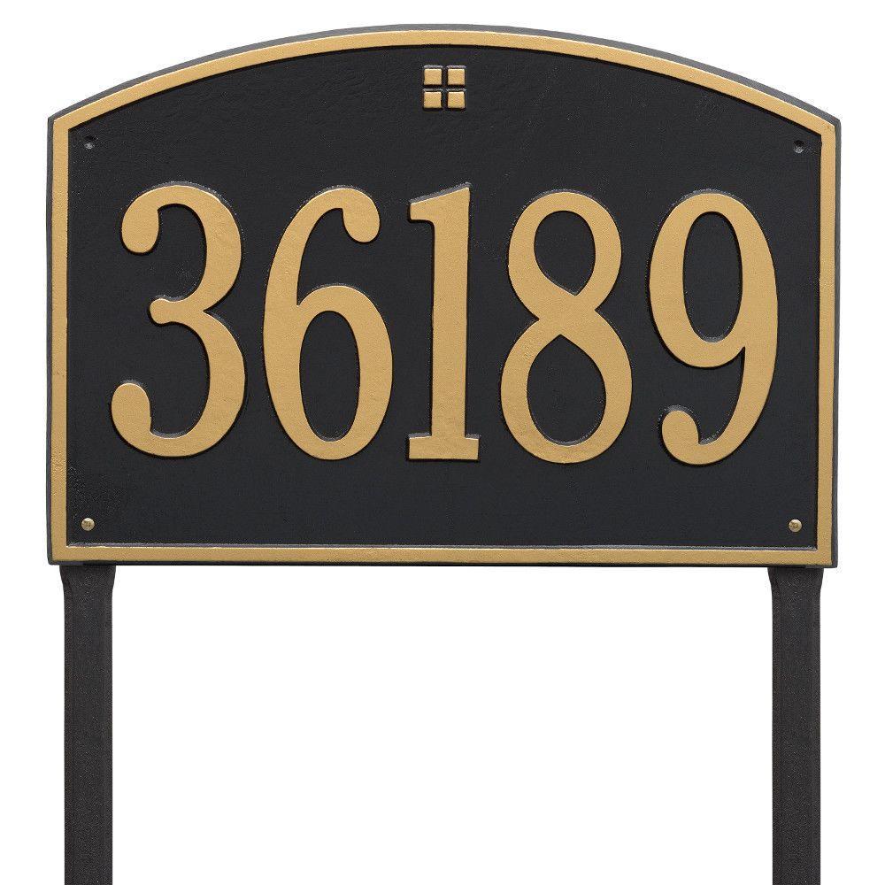Cape Charles Rectangular Estate Black/Gold Lawn 1-Line Address Plaque