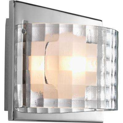 Cliche Collection 1-Light Polished Chrome Bath Sconce with Clear Textured Glass Shade