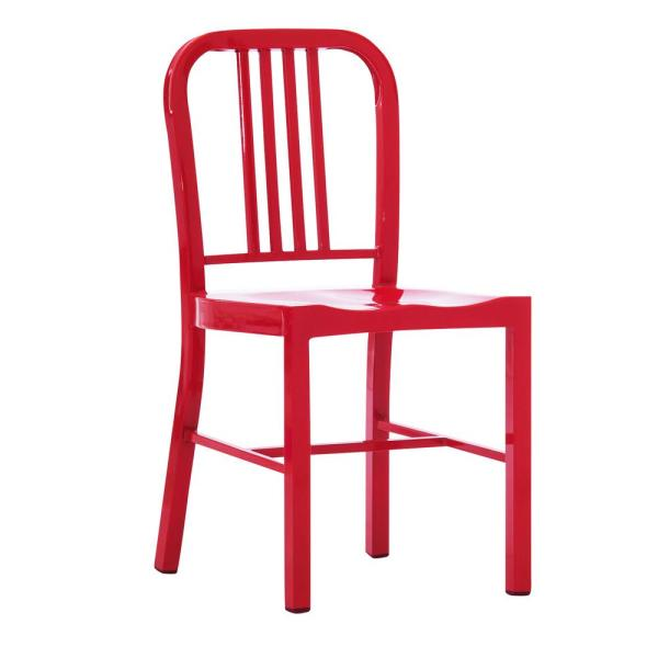 Industrial Red Metal Indoor Dining Chair (Set of 2)