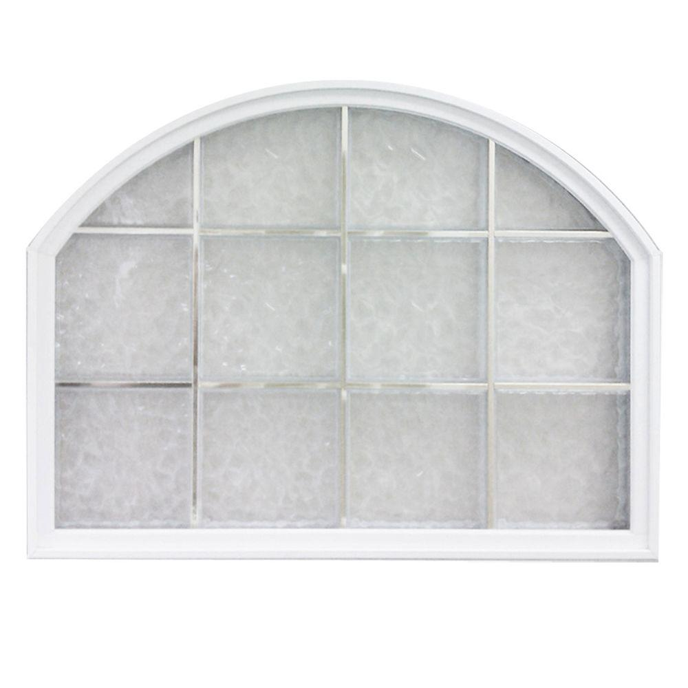 Hy-Lite 50 in. x 50 in. Glacier Pattern 8 in. Acrylic Block Tan Vinyl Fin Fixed Arch Top Window with Tan Silicone-DISCONTINUED