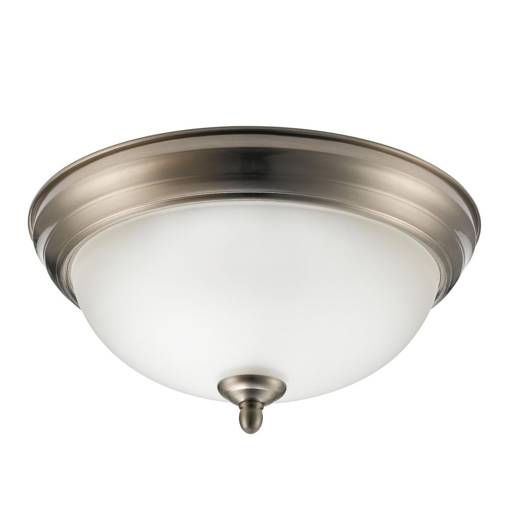 Globe Electric Aline 11 In Brushed Steel Flush Mount Light Fixture