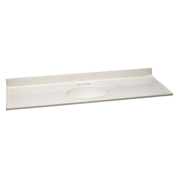 61 in. W Cultured Marble Vanity Top in White on White with Single Basin in White on White