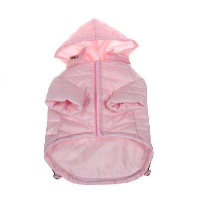 Medium Light Pink Lightweight Adjustable Sporty Avalanche Dog Coat with Removable Pop Out Collared Hood