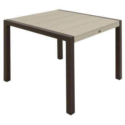 Surf City 36 in. Textured Bronze Patio Dining Table with Sand Castle Top