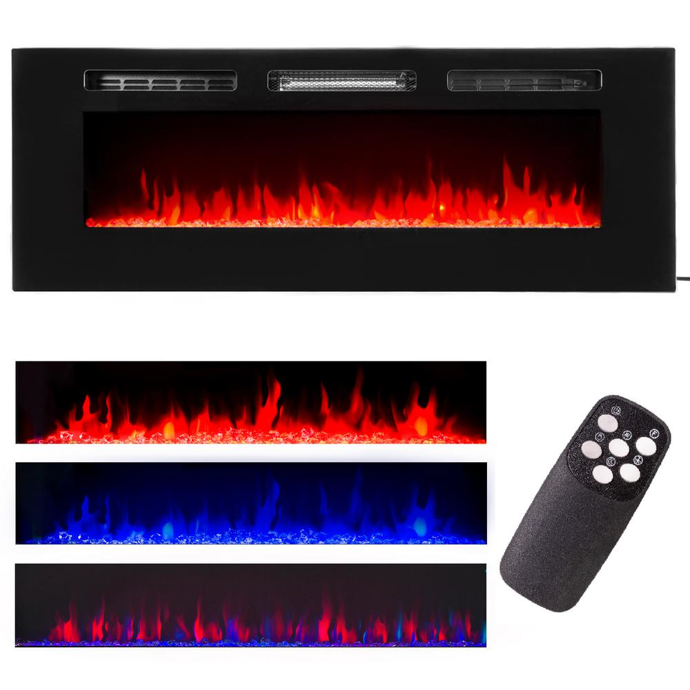 XtremepowerUS 50 in. 5,100 BTU Recessed In-Wall Electric Heater Smokeless Fireplace with 3-Changeable Flame Color and Remote Control