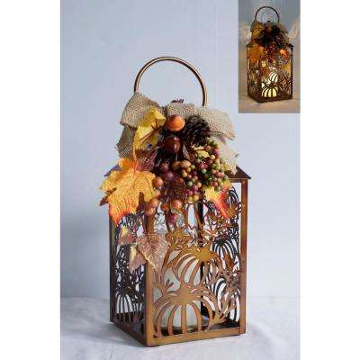 13 in. Cutout Pumpkin Lantern with LED Candle