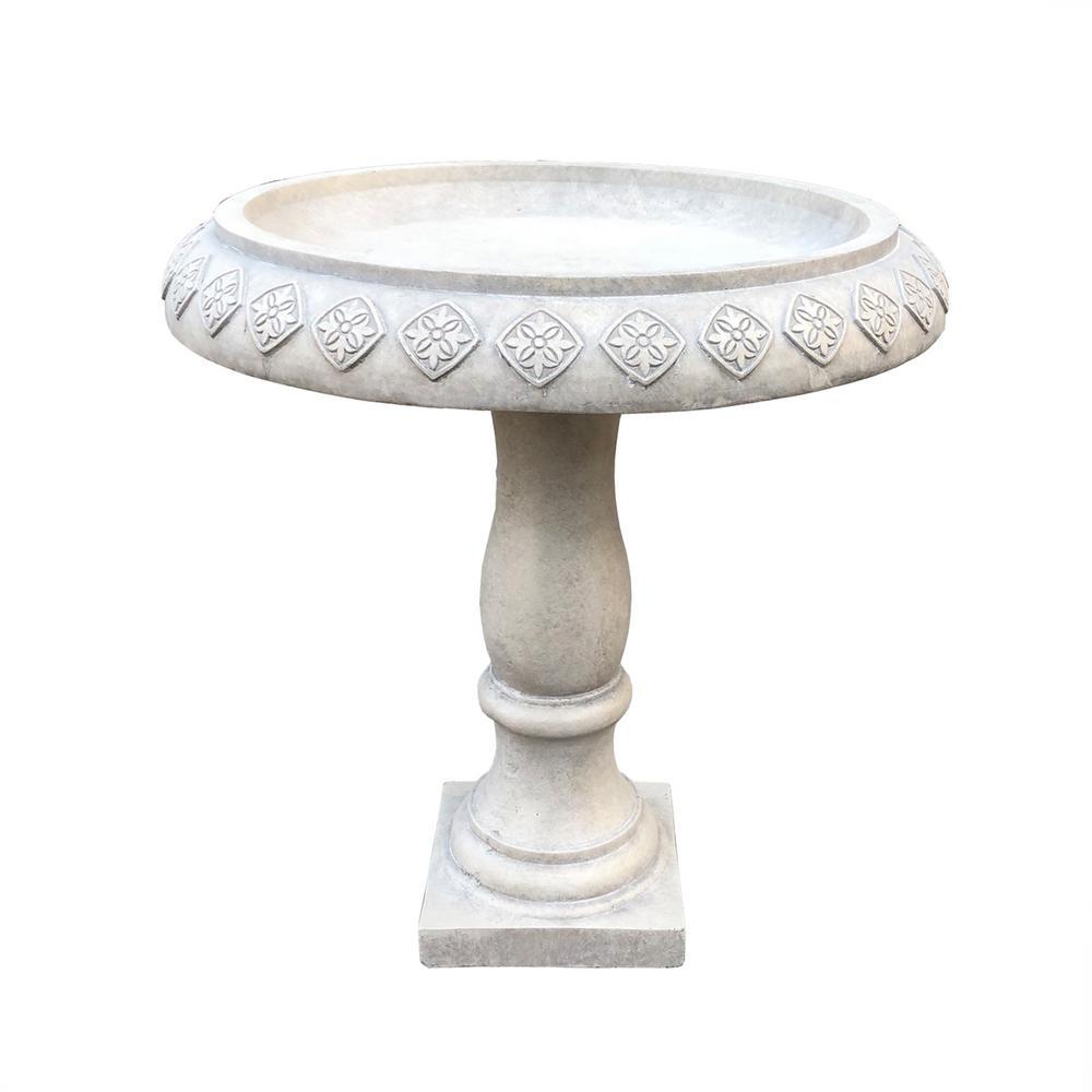 22.8 in. Dia Weathered Concrete Lightweight Traditional Textured Flower Diamond Pattern Birdbath