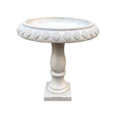 22.8 in. Dia Weathered Concrete Lightweight Traditional Textured Flower Diamond Pattern Birdbath