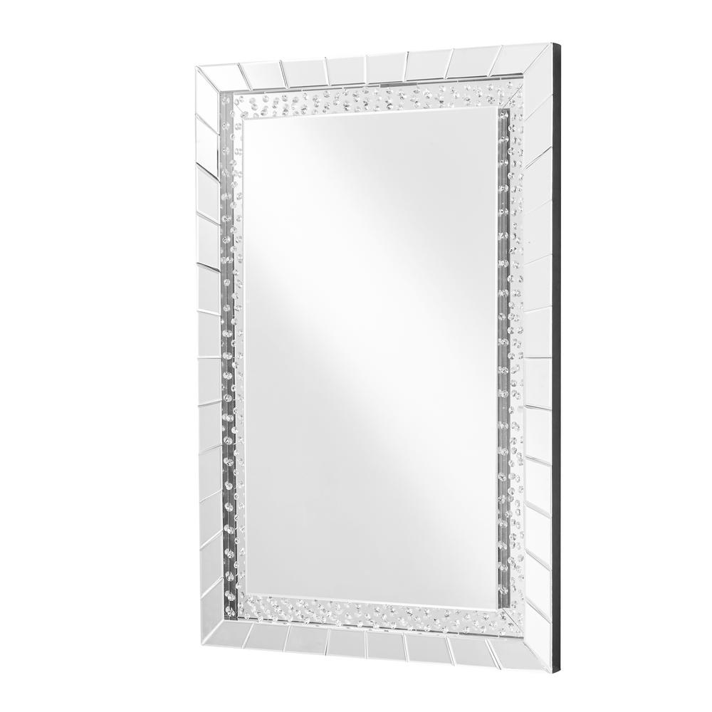 Emory 31.5 in. Contemporary Crystal Rectangle Mirror with Clear MDF Frame;