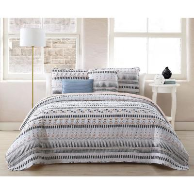 Prescott 5-Piece White Full/Queen Quilt Set