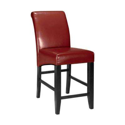 Parsons 25.25 in. Red Cushioned Counter Stool with Back