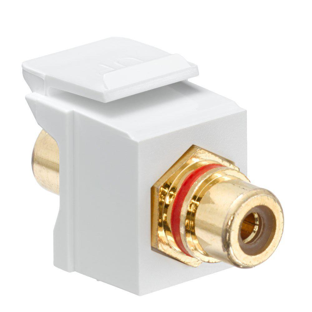 QuickPort RCA Gold-Plated Connector Red Stripe, White