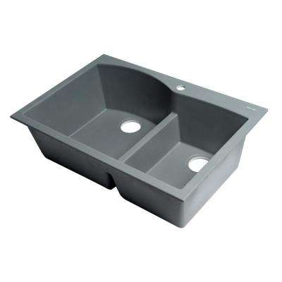 Drop-In Granite Composite 33 in. 1-Hole 35/65 Double Bowl Kitchen Sink in Titanium