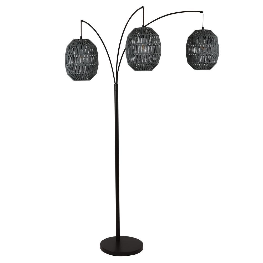 Laurette 75 in. Black 3-Light Floor Lamp