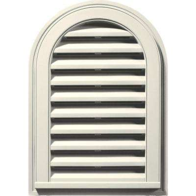 14 in. x 22 in. Round Top Gable Vent in Parchment