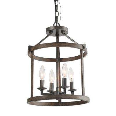 4-Light Dark Gray Faux Wood Drum Foyer Pendant