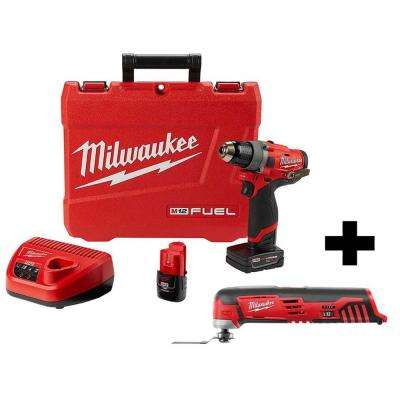 M12 FUEL 12-Volt Lithium-Ion Brushless Cordless 1/2 in. Drill Driver Kit with Free M12 Multi-Tool