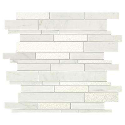 Stone Decor Glacier 12 in. x 14 in. x 10 mm Marble Linear Mosaic Tile