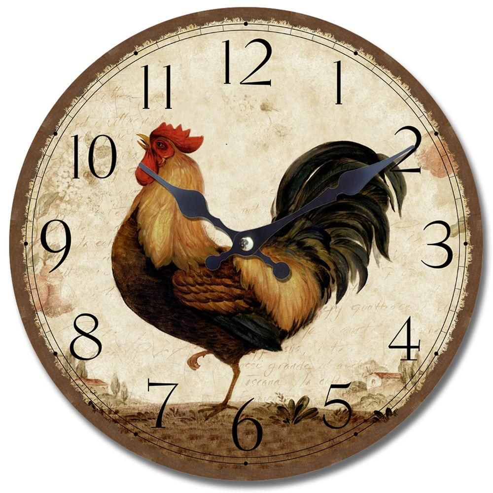 Yosemite Home Decor 13.5 In. Circular Wooden Wall Clock With Rooster  Print CLKA6726   The Home Depot
