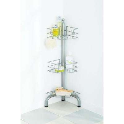 3-Tier Adjustable Floor Standing Shower Caddy, Chrome