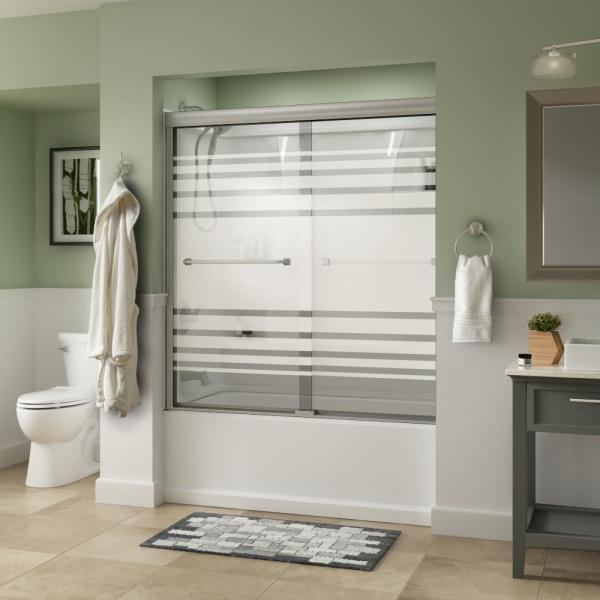 Everly 60 in. x 58-1/8 in. Traditional Semi-Frameless Sliding Bathtub Door in Nickel and 1/4 in. (6mm) Transition Glass