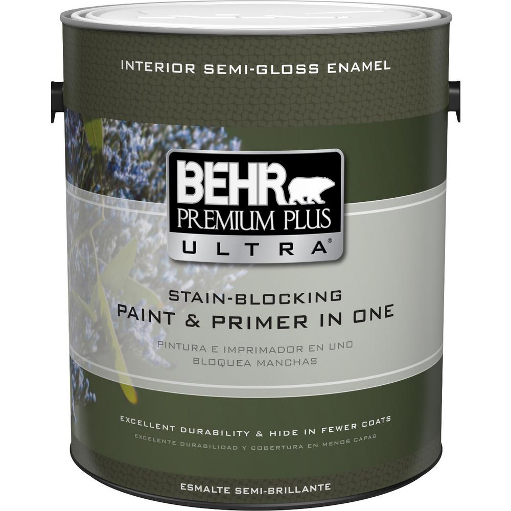 BEHR Premium Plus Ultra 1 Gal. Ultra-Pure White Semi-Gloss Enamel Interior Paint