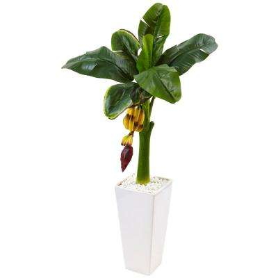 Indoor Banana Artificial Tree in White Tower Vase