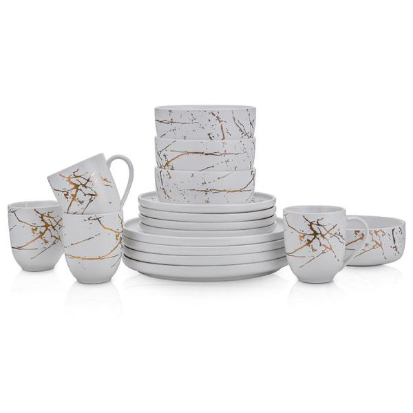 32-Piece Casual Gold and White Porcelain Dinnerware Set (Set for 8)