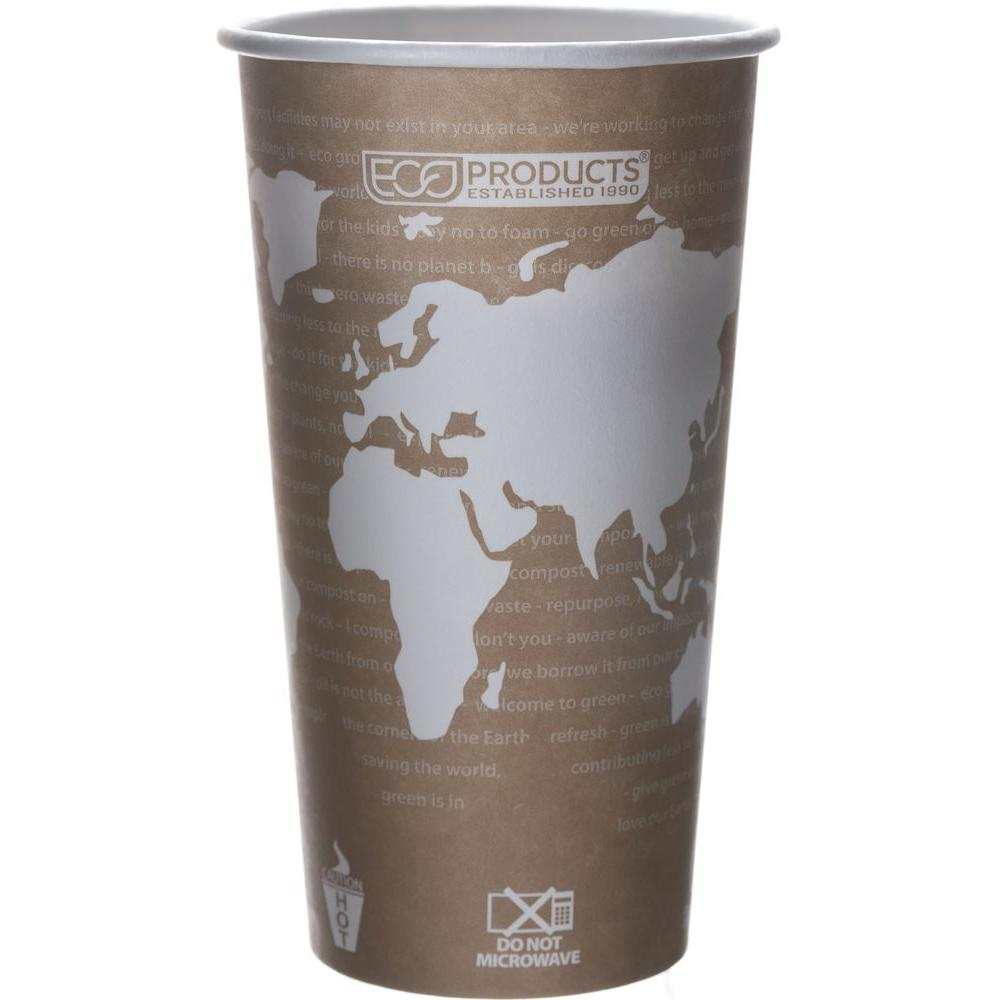 Eco-Products World Art Renewable Resource Compostable Hot Drink Cups, 20 oz., Tan, 1000 Per Case