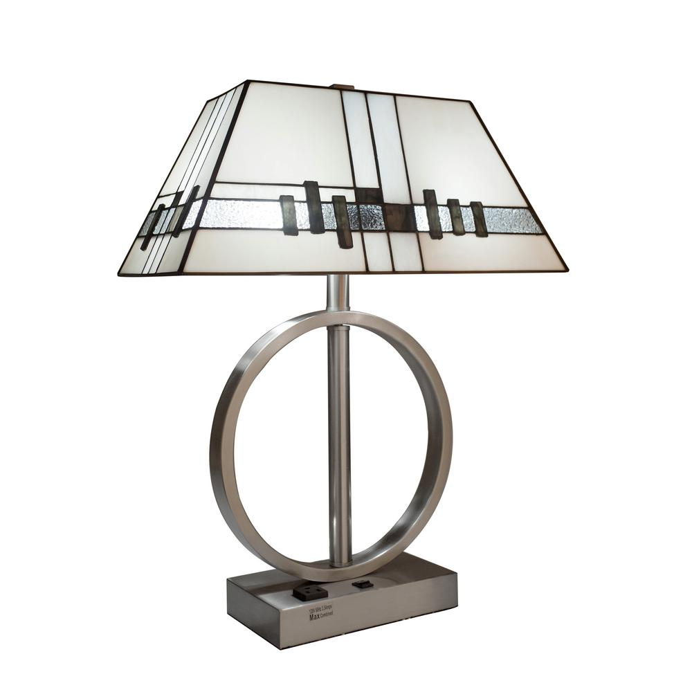 White Table Lamp With Stained Glass Shade And USB