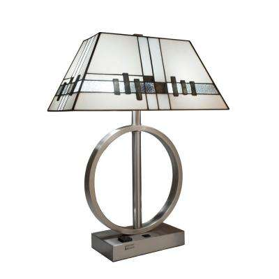 23 in. White Table Lamp with Stained-Glass Shade and USB and Electrical Outlet