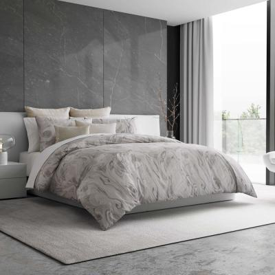 Marbled Grey Cotton Queen Duvet
