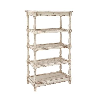 55 in. Rustic White Wood 5-Shelf Etagere Bookcase