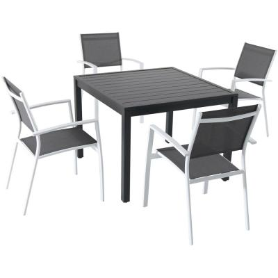 Naples 5-Piece Aluminum Outdoor Dining Set with 4-Sling Arm Chairs and a 38 in. Square Dining Table