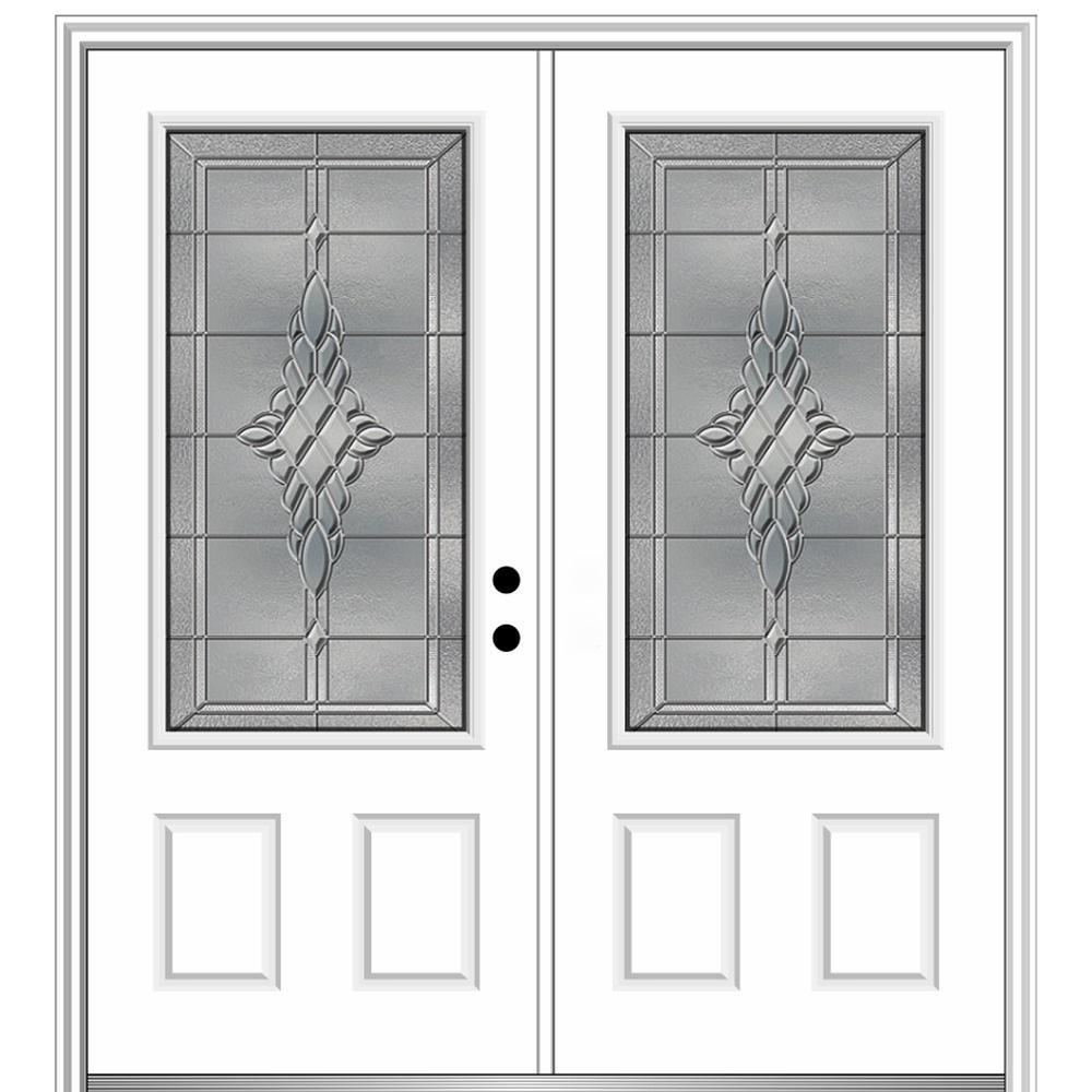 72 in. x 80 in. Grace Left-Hand Inswing 3/4-Lite Decorative Primed Fiberglass Prehung Front Door on 6-9/16 in. Frame