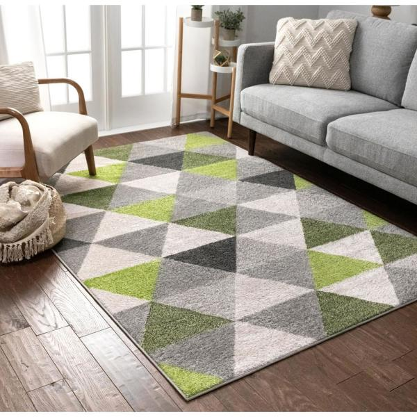 Well Woven Mystic Alvin Modern Geometric Green 3 Ft 11 In X 5 Ft 3 In Mid Century Triangles Area Rug Mc 65 4 The Home Depot