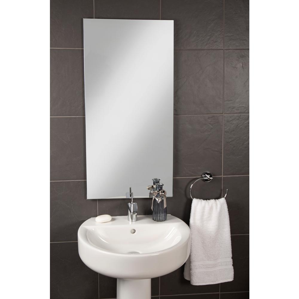 "HOLES /& FIXINGS special offer FRAMELESS BEVEL EDGE WALL  MIRROR 18/"" x 12/"""