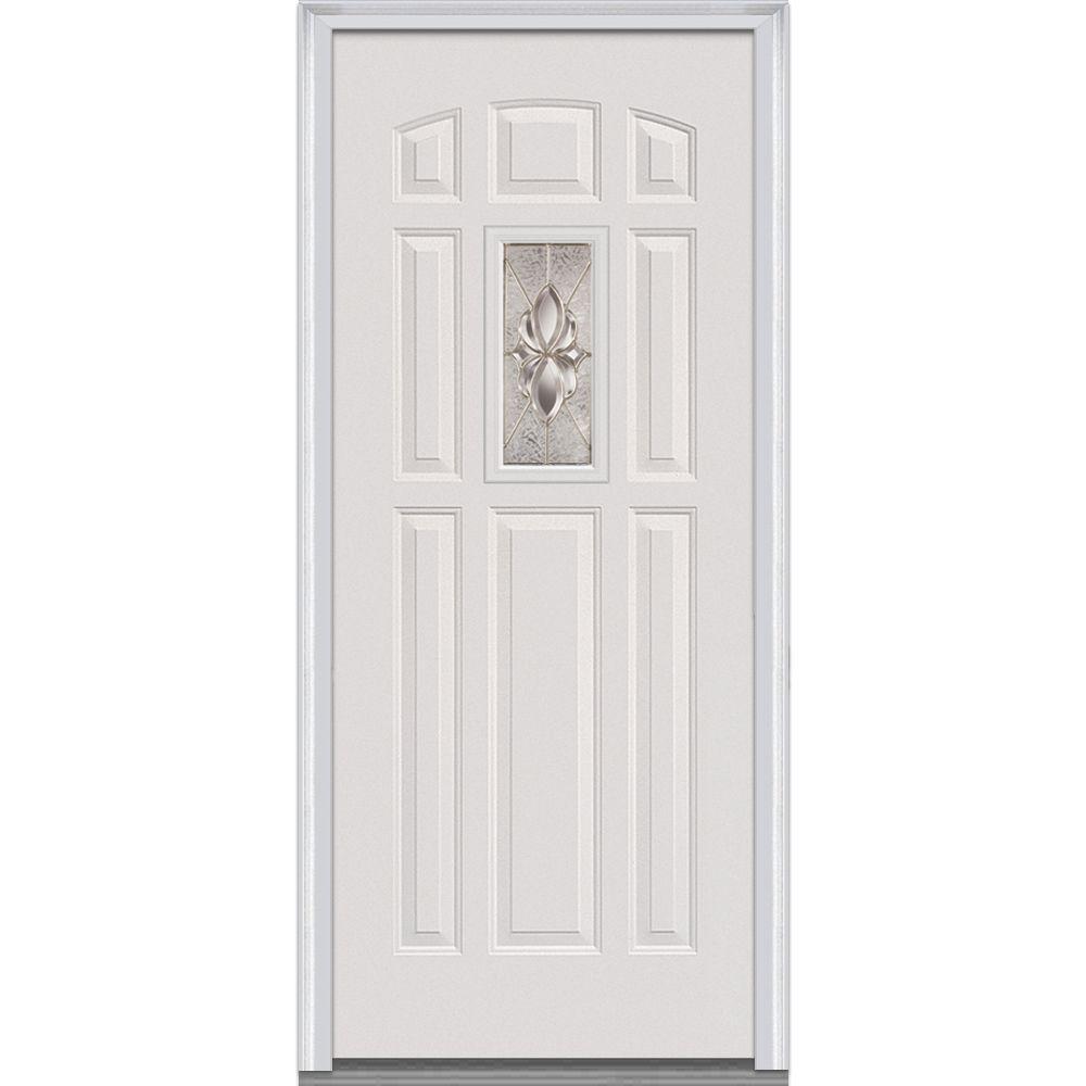 MMI Door 32 in. x 80 in. Heirloom Master Right Hand Center Lite 8-Panel Primed Steel Prehung Front Door