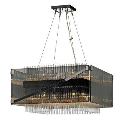 Apollo 8-Light Dark Bronze and Polished Chrome 26 in. W Chandelier with Plated Smoked Glass with Clear Glass Rods