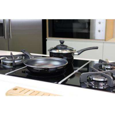 Fit 7-Piece Non-Stick Porcelain on Steel Cookware Set in Black