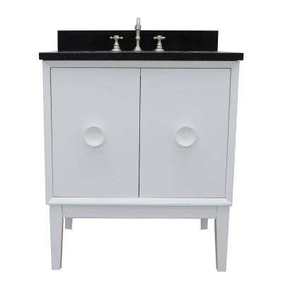 Stora 31 in. W x 22 in. D Bath Vanity in White with Granite Vanity Top in Black with White Rectangle Basin