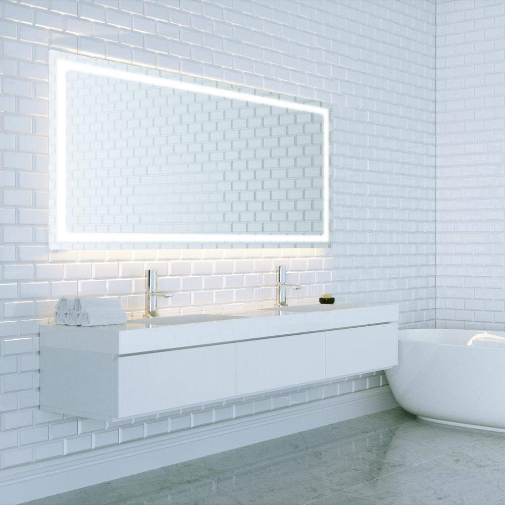 Dyconn swan 48 in w x 36 in h led backlit vanity for Mirror 48 x 60
