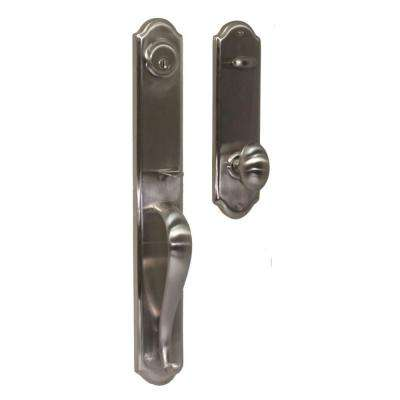 Elegance Single Cylinder Satin Nickel Philbrook Interconnect Door Handleset with Julienne Knob