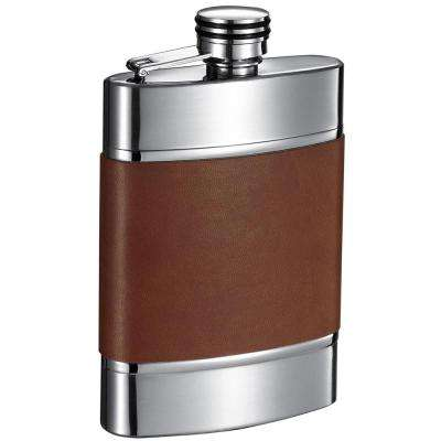Wickeln Brown and Brushed Metal Liquor Flask