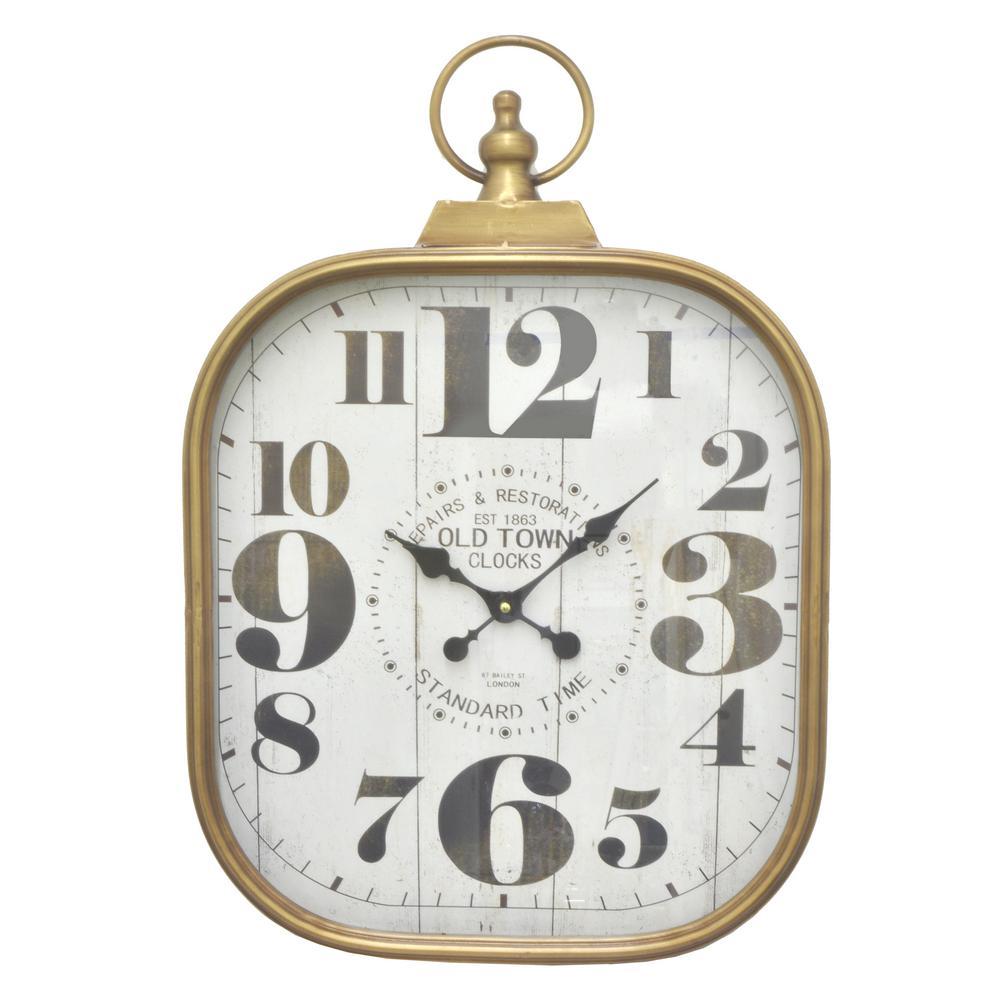 THREE HANDS Gold Metal Frame Wall Clock-61749 - The Home Depot