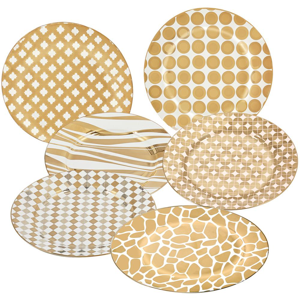 Gold Plated Barrel 8 in. Dessert and Salad Plate (Set of
