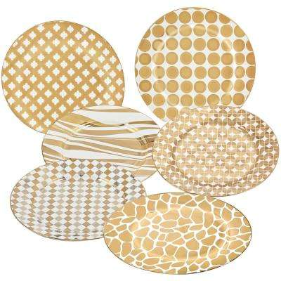 Gold Plated Barrel 8 in. Dessert and Salad Plate (Set of 6)