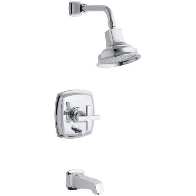 Margaux Bath and Shower Faucet Trim with Cross Handle in Polished Chrome (Valve Not Included)